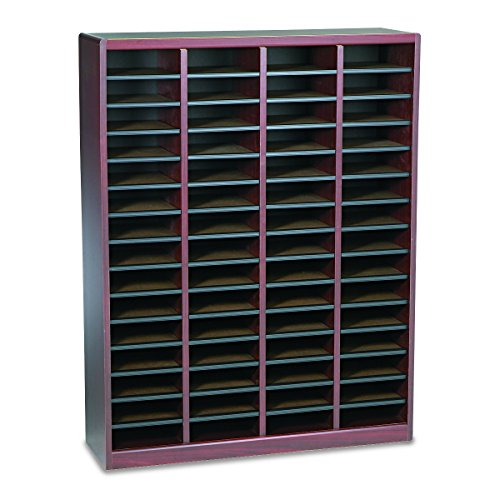 Safco Products E-Z Stor Wood Literature Organizer, 60 Compartment, 9331MH, Mahogany, Durable Construction, Removable Shelves, Plastic Label Holders - Ez Stor Labels