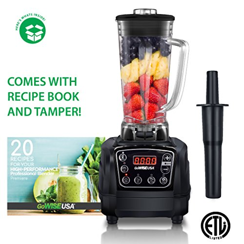 GoWISE USA GW22502 Premiere 1450W High-Speed 2 Horse Power Professional 4 Blending Presets, 67-Ounce Pitcher and Tamper + 20 Recipes for Your Blender Book, BLACK