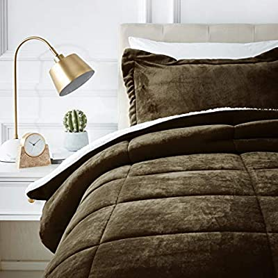 AmazonBasics Ultra-Soft Micromink Sherpa Comforter Bed Set, Twin, Chocolate - 2-Piece - Includes 1 comforter and 1 pillow sham Covered in ultra-soft micromink polyester on one side and cloud-like white faux sherpa fleece on the other. Reinforced with stylish box stitching, the comforter resists fraying and sliding, staying put nicely on your bed - comforter-sets, bedroom-sheets-comforters, bedroom - 51VJxnrOFyL. SS400  -