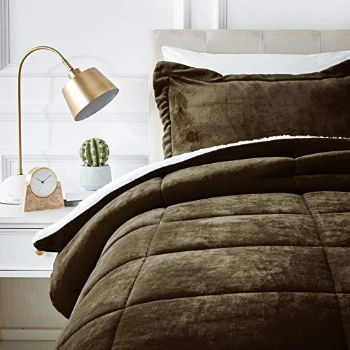 AmazonBasics Micromink Sherpa Comforter Set - Ultra-Soft, Fray-Resistant -  Twin, Chocolate