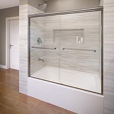 Basco Infinity - Mampara de puerta corredera sin marco para baño, 142-148,5 cm, cristal transparente: Amazon.es: Bricolaje y herramientas
