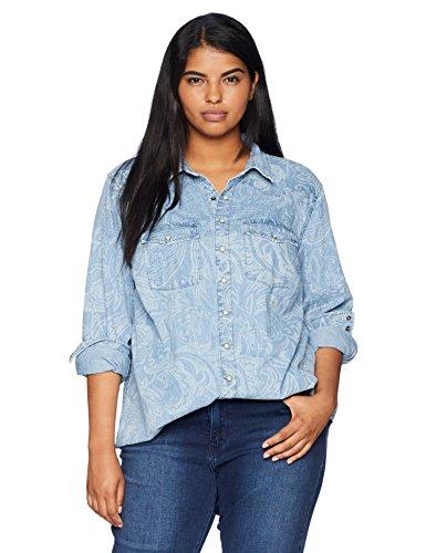 Lucky Plus Size T-shirt - Lucky Brand Women's Plus Size Paisley Western Shirt, Buckman/Paisley, 2X