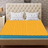 LOOMANTHA miles to go…. Waterproof Plastic Bed Sheet (6.5 feet x 6 feet, Double Bed, Gold)