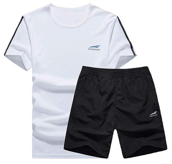 448d7331554a Men 2 Pieces Summer Set Short Sleeve Shirt Shorts Tracksuits Causal  Sportswear 1 XS