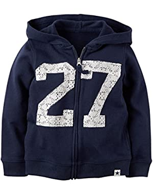 Girl's Navy Lace Detail French Terry Hoodie
