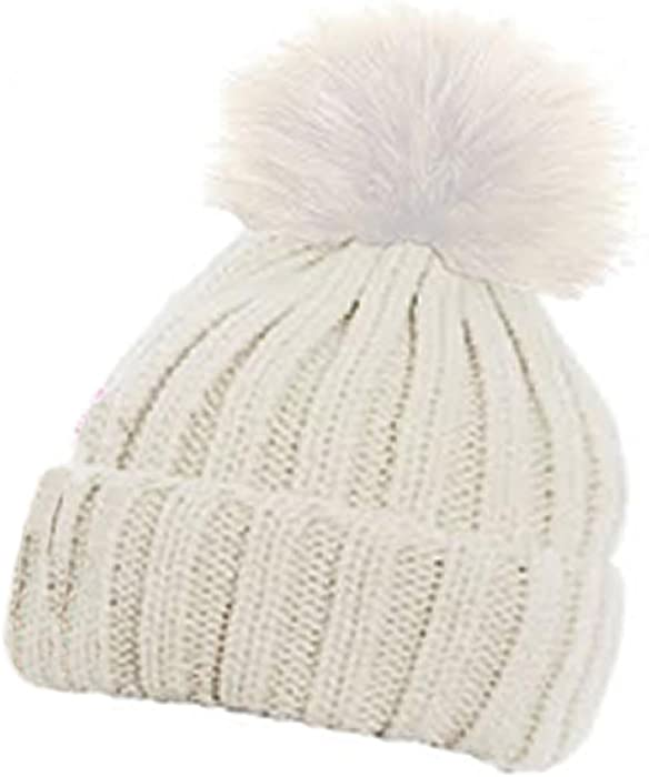 85231b4e83c Children s Ribbed Hat with Solid Faux Fur Pom Pom Warm Bobble Hats (Vanilla)   Amazon.co.uk  Clothing