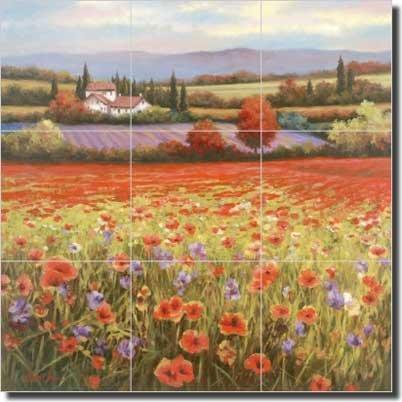 (Poppy Landscape Ceramic Tile Mural Backsplash 18