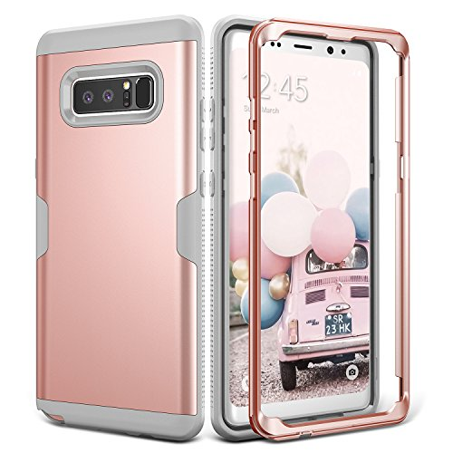 Galaxy Note 8 Case, YOUMAKER Full Body Heavy Duty Protection Shockproof Slim Fit Case Cover for Samsung Galaxy Note 8 (2017 Release) WITHOUT Built-in Screen Protector (Rose gold/Gray)