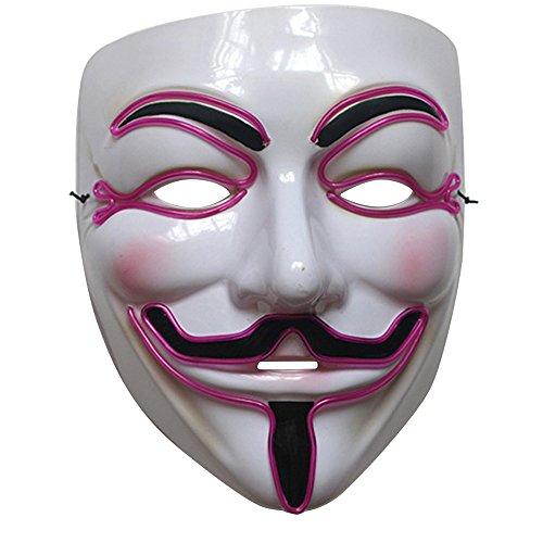 Adult Light Up Costume Masks - Ehonestbuy Lightweight LED Anonymous Guy Fawkes Mask, 3 Flash Modes (Purple)