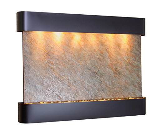Teton Falls Water Feature with Blackened Copper Trim and Round Edges (Green ()
