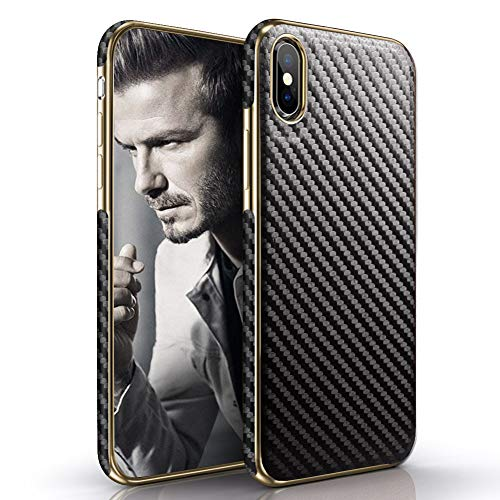 LOHASIC Case for iPhone Xs Max, Thin Slim-Fit Luxury Leather PU Soft Grip Hybrid Defender Bumper Full Body Shockproof Protective Cover Cases Compatible with Apple iPhone XS Max 6.5 inch - Carbon Fiber