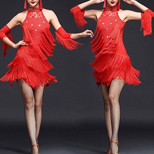 Zhuhaitf Des Femmes De Costumes De Danse Tango Salsa Latine Paillettes Vintage De Fête De Bal Rouge Robe Pompon De Danse
