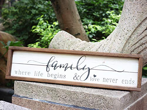 Parisloft Family Where Life Begins & Love Never Ends White Background Wood Framed Wood Wall Decor Sign Plaque 23.6 x 1.2…