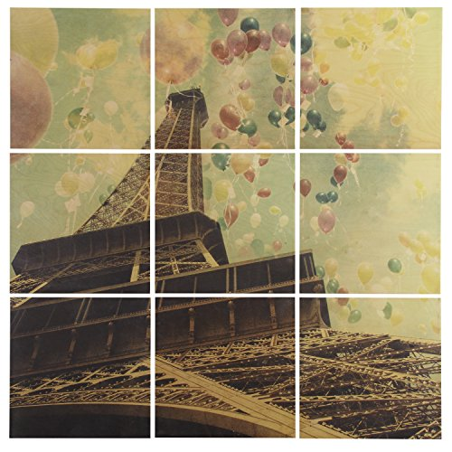 Modern 9-Piece Mural of Balloons and Eiffel Tower on Wood, 60'' x 60'' by Stone & Beam
