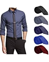 Set of 5 Slim Satin Tie for Men - Formal, Party Wear, Birthday Gifts.