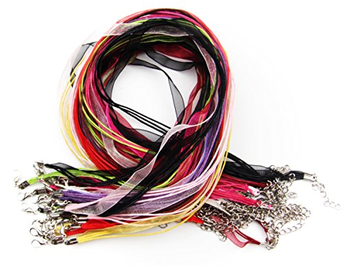 ALL in ONE 13 Colors Organza Ribbon Waxen Cord with Lobster Clasp Necklaces 43cm (17inch) Mix Color 25pcs