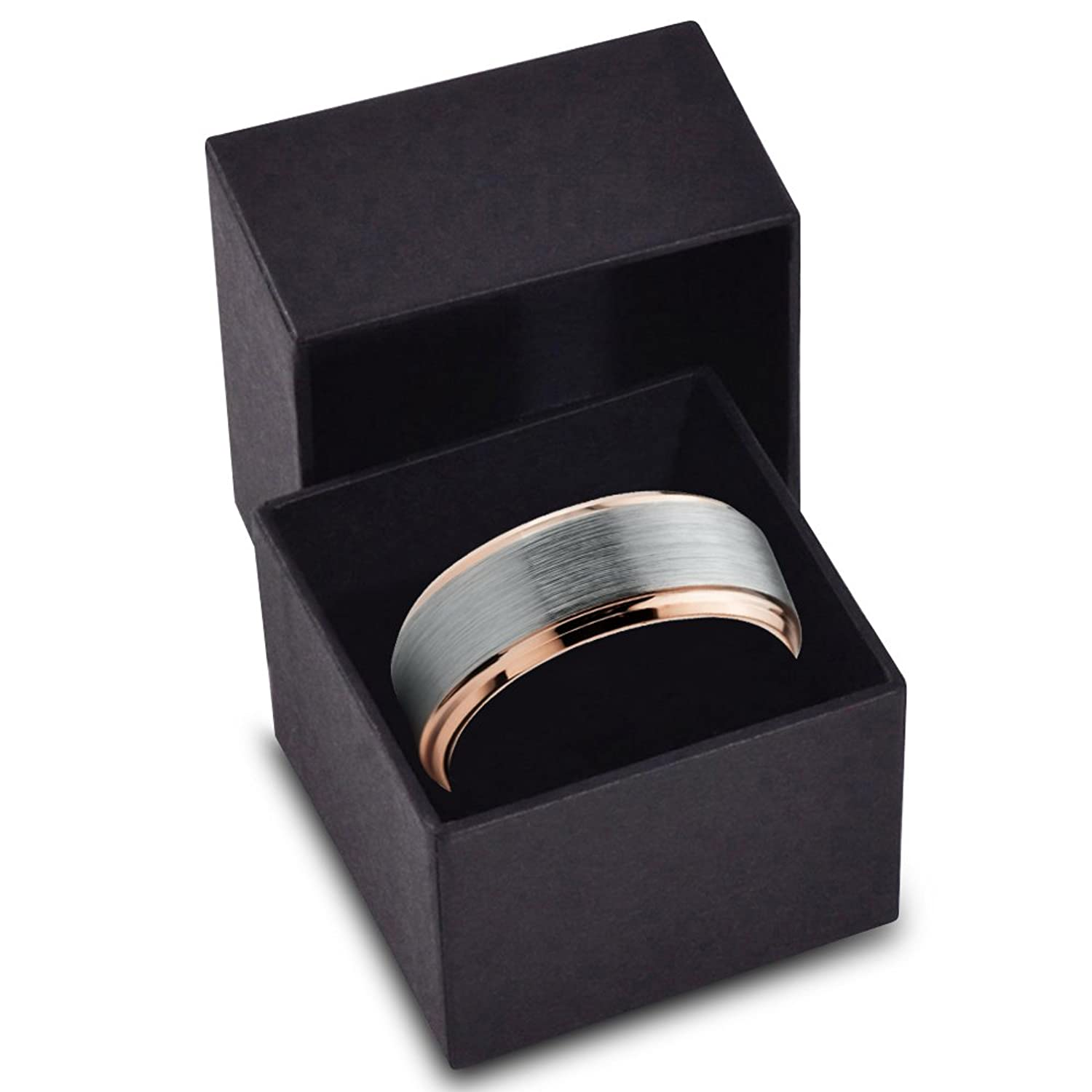 Bundle offer 18k gold plated amp white gold plated necklace 2 ring - Tungsten Wedding Band Ring 8mm For Men Women Comfort Fit 18k Rose Gold Plated Plated Beveled Edge Brushed Polished Amazon Com