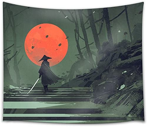 wall26 – Illustration – Samurai Standing on Stairway in Night Forest with The red Moon on Background,Illustration Painting – Fabric Wall Tapestry Home Decor – 68×80 inches
