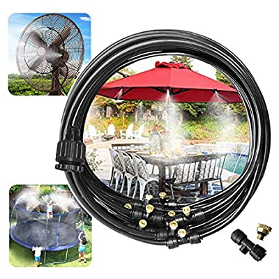 "Outdoor Misting Misters Cooling System 33.3FT (10M) Misting Line + 10 Brass Mist Nozzles + a PVC Connector(3/4"")+a PVC Socket(1/2"") for Patio Fan Garden Greenhouse Misting? Trampoline for Waterpark"