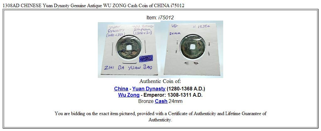 4f55d34a41 1000 unknown 1308AD CHINESE Yuan Dynasty Genuine Antique WU ZO coin ...