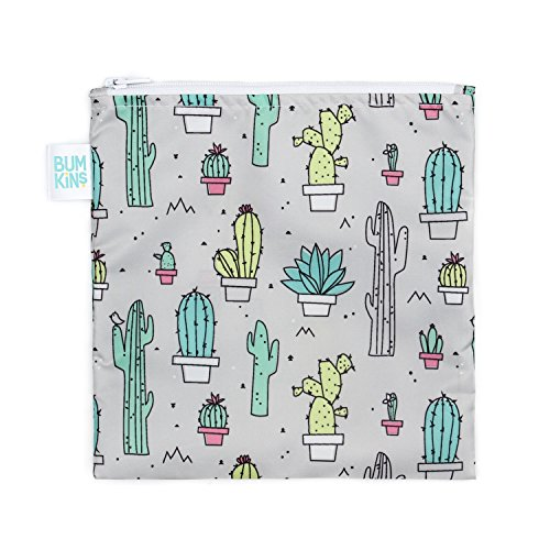 Bumkins Sandwich Bag / Snack Bag, Reusable, Washable, Food Safe, BPA Free, 7x7 - Cactus