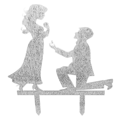 Moon Shine Personalized Silhouette Engagement Cake Topper Decoration Marriage Proposal Silver
