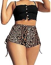 YFJJFY Short feminino cintura média extra curto com cordão lateral estampado para ioga