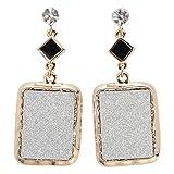 Hiddleston Jewelry Women's Shiny Oblong Drop Dangle Earrings