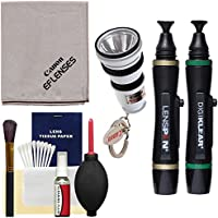 Canon Optical Digital Camera & Lens Cleaning Kit with Flashlight Keychain + Brush, Microfiber Cloth, Fluid & Tissue + Blower Kit for EOS 6D, 70D, 7D, 5DS, 5D Mark II III, Rebel T5, T5i, T6i, T6s, SL1