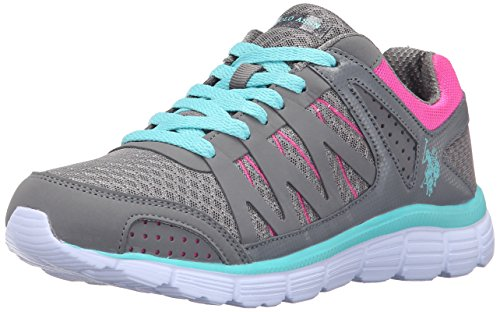 U.S. Polo Assn.(Women's) Women's Clarissa Fashion Sneaker, Grey/Mint/Fuchsia, 7 M US