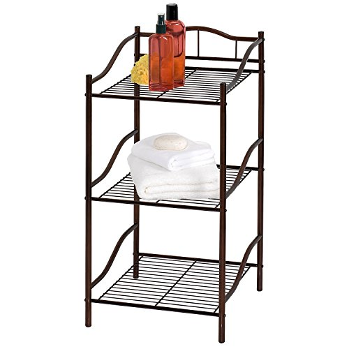 Creative Bath Products Complete Collection 3 Shelf Storage Tower, Oil Rubbed Bronze - Oil Rubbed Bronze Tower