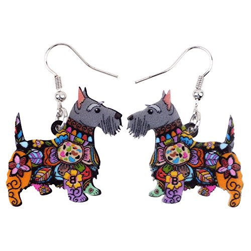 BONSNY Dog Collection Aberdeen Scottish Terrier Dog Statement Long Drop Dangle Women Earrings