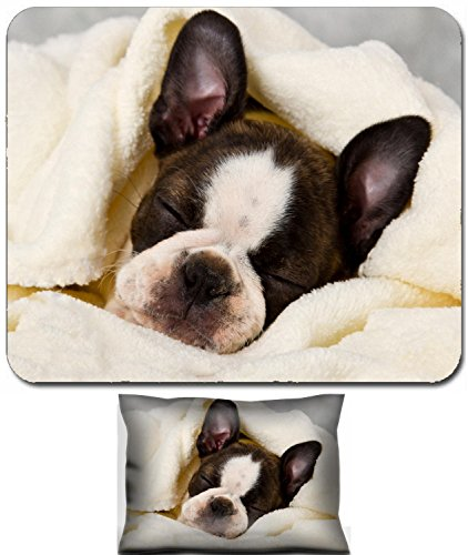(Liili Mouse Wrist Rest and Small Mousepad Set, 2pc Wrist Support Boston terrier sleeping in white towels studio shoot Photo 20130004)