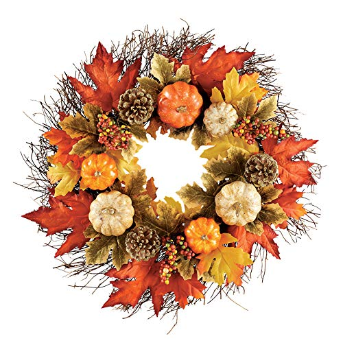 Collections Etc Rustic Pumpkin and Pine Cone Fall Wreath with Maple Leaves and Twig Accents - Beautiful Seasonal Wall or Door - Pumpkin Twig