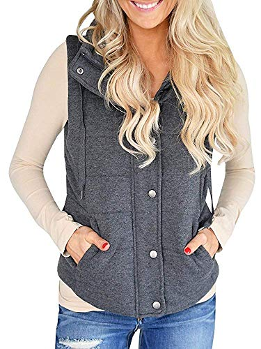 JOYCHEER Womens Vest Quilted Sleeveless Fall Puffy Button Jackets Outerwear with Pockets