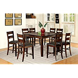 Furniture of America Dallas 9-Piece Transitional Pub Set, Dark Cherry