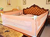 3 Set King (2 Set for 2 Length Side of The Bed and 1 Set for Feed Size of The Bed) Size Bed Safety Bed GuardRail Bed Fence for Children, Toddlers, Infants - Pink Color