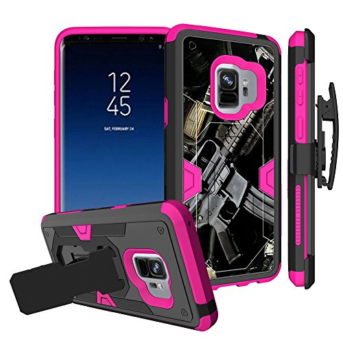 Untouchble Case for Samsung Galaxy S9 Plus Pink Case [S9 Plus Holster Case] [MYSTIC CASE] Pink Dual Layer Shockproof Case Defender Protector [Kickstand] and [Holster] - Tough Assault Rifle