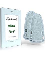 LoWell® - peelinghandschoen ruw incl. peeling gids + 2 x BONUS zuignap - luxe voor uw lichaam - wellness handschoen - douchespons body - hamamhandschoenen gezicht 2 Stück grau/grijs