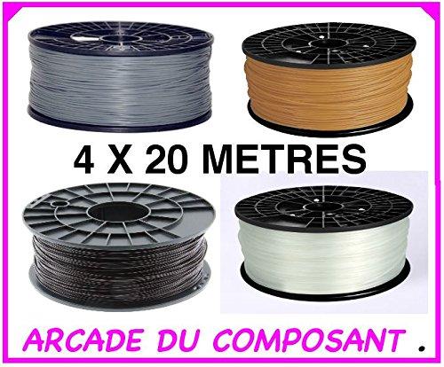 80m DE FILS ABS 1.75 MM POUR IMPRIMANTE 3D OU STYLO 3D – ASSORTIMENT DE 4 COULEURS – GOLD – ARGENT – NA – MA