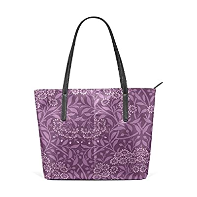 Womens Leather Top Handle Shoulder Handbag Purple Flowers Large Work Tote  Bag hot sale 6a3f625158