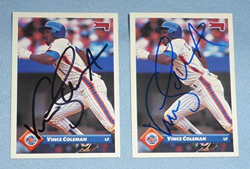 Cardinals Bb - Vince Coleman Signed 1993 Donruss Mets Baseball Card #618 Autograph Cardinals BB - Baseball Slabbed Autographed Cards
