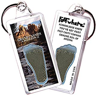 product image for Grand Canyon FootWhere Key Chain (GC101 Cathedral Rock). Authentic Destination Souvenir acknowledging Where You've Set Foot. Genuine Soil of Featured Location encased Inside Foot Cavity. Made in USA