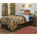 5 Piece Kids Full Safari Themed Comforter Set, African Mix Outback Bedding, Adventure with Lions Giraffes Zebras Elephants, Unisex Bed in a Bag