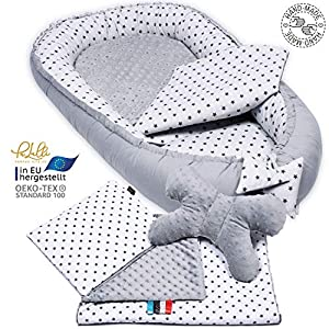 5 piece set. PALULLI Premium Cuddly Nest Set Including Baby Nest 90 x 50 cm Removable Insert Cuddle Blanket Neck Pillow…