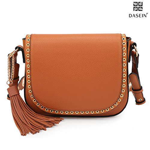 Women Crossbody Purses Messenger Grommets for Bag Bags Leather Shoulder Designer Brown 7368 Vegan Tassel wU1qRcBw