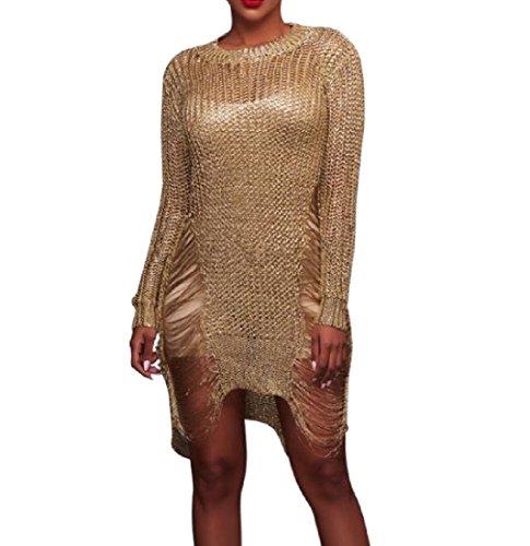Vestito Sexy Cava Usura Da Coolred Maglione Mulit Spiaggia Colore Bechwear Avvolgente Dorata donne aYxT46