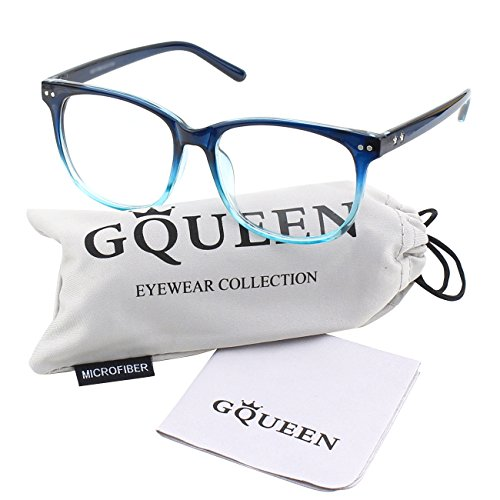 GQUEEN 201581 Large Oversized Frame Horn Rimmed Clear Lens Glasses,Blue