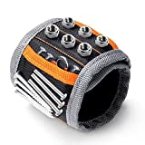 #9: Magnetic Wristband,with Strong Magnets for Holding Screws, Nails, Drilling Bits and Best Tool Gift for DIY Handyman Men Women(1 Pack, Black)