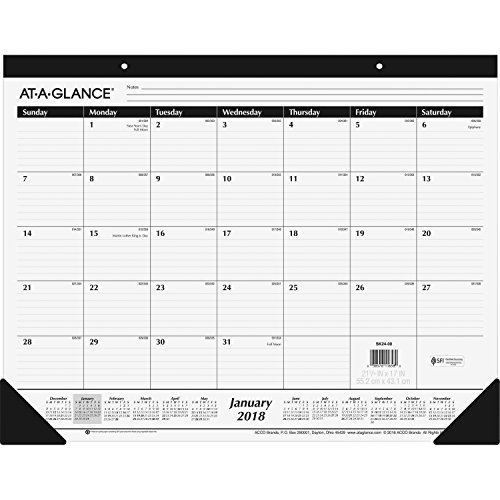 "AT-A-GLANCE 2018 Desk Pad Calendar Bundle, Monthly, Ruled, 21-3/4 x 17"" (SK24-00) (8-Pack Bundle) - Bundle Includes Plexon Ballpoint Pen"